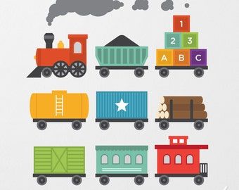Train Wall Decal, Train Decal, Train Wall Sticker, Train Theme Decor, Transportation Decal, Train Nursery, Train Boys Room, Train Wall Art