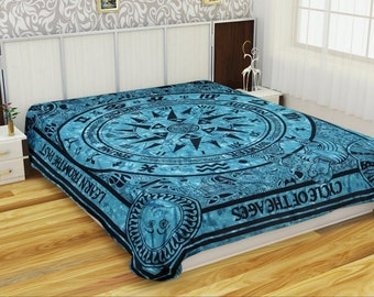 Indian Cycle of Ages Celestial Zodiac Tapestry Mandala Gypsy Wall hanging Bed Spread