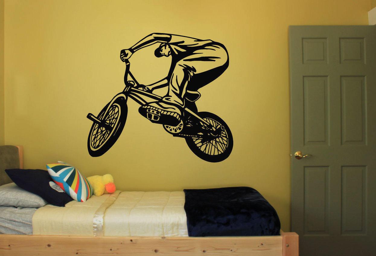 Wall Decal Sticker Bedroom bmx bicycle bike jump Kids Girls