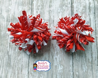 Red and White Christmas Hair Bows,White and Red Hair Bows,Red and White Corker Hair Bows,Corker Hair Bows,White and Red Christmas Hair Bows.