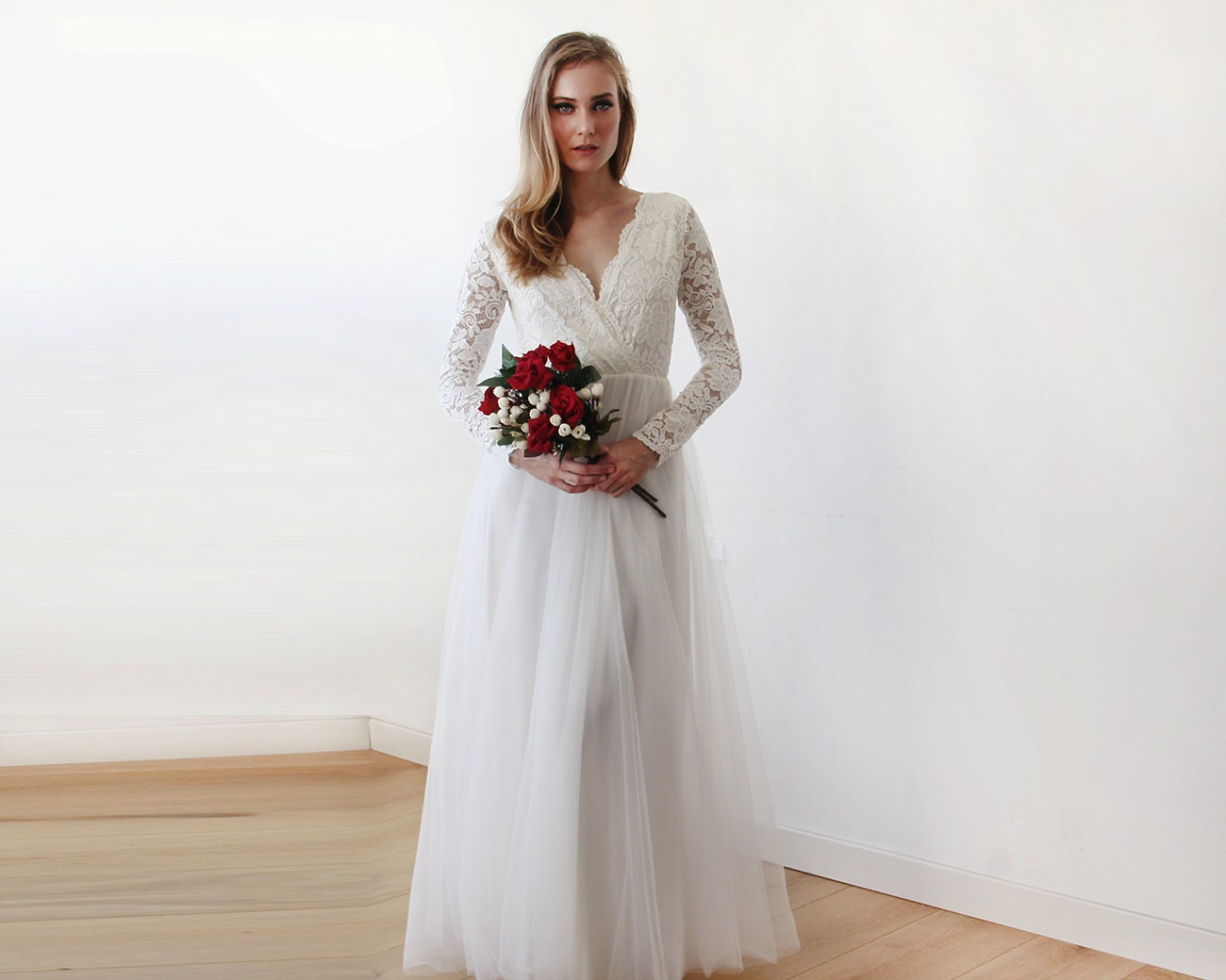 Ivory Lace Long Sleeves Wedding Dress Tulle And Lace Bridal