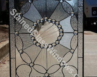"""So nice!! The """"La Crescenta""""  Clear textured Jeweled Stained Glass Window (We do custom work)"""