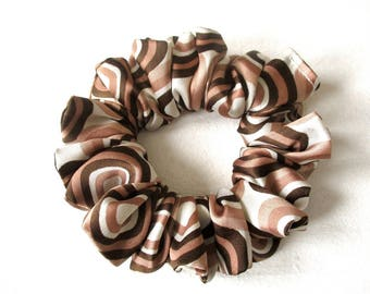 brown ivory satin hair scrunchie, polka dots wedding accessory for women girl, handmade gift for her, ponytail holder, 80s 90s party