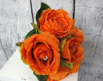 Orange rose bouquet, Rhinestone bling bouquet, Bridesmaid fall bouquet, Orange wedding bouquet, Bridal rhinestone bouquet, Ready to ship