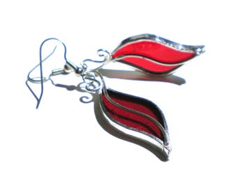 Heat Wave - Stained Glass Earrings - Red Womens Accessories Lightweight Jewelry Nickel-Free Hooks (READY TO SHIP)