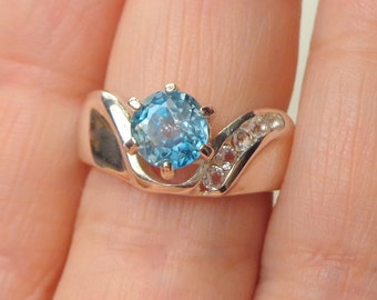 Natural Blue Zircon, Sterling Silver, White Topaz Band, Round Shape, Engagement, Wedding, Promise Ring