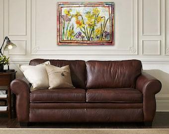 "collage art | ORIGINAL flower painting | CANVAS art | mixed media art | yellow Daffodil flowers | floral art | butterfly art | purple 18x24"""