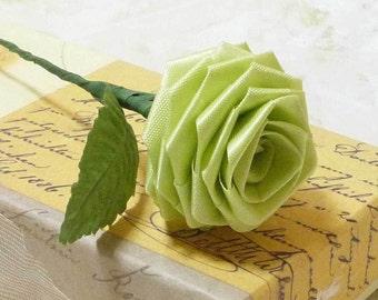 10 Single Origami Roses in Apple Green
