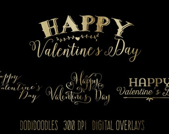 Gold Valentine's Day Overlays, clipart, clip art, Gold Typography, Valentine Clipart, 300 dpi PNG files, commercial use, gold clipart, love