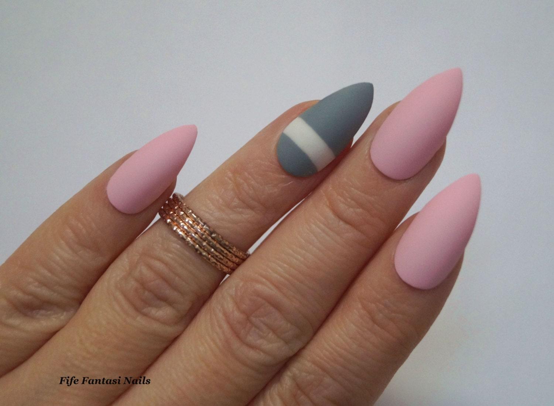 Grey Stiletto Nails, Pink Stiletto Nails, Fake Nails, False Nails ...