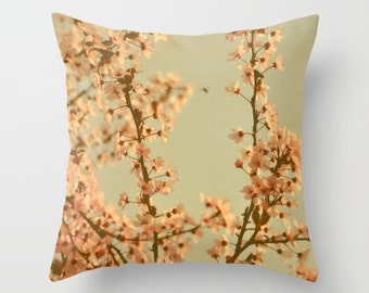 Blossom Throw Pillow, Spring Floral Pillow, Peachy Pastel Pillow, Spring Flower Photo Decor, Green, Shabby, Dreamy, Translucent, Home Decor