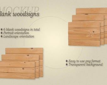 Mockup frameless blank woodsigns