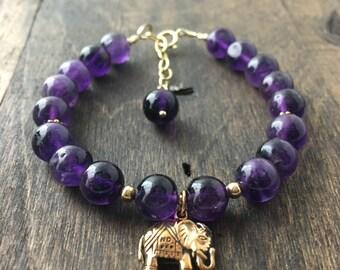 Amethyst Lucky Elephant Bracelet, Stacking Bracelet, Calming Yoga Meditation Jewelry, Lucky Elephant