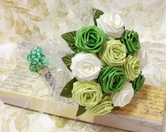 Origami Rose Bouquet - Bio Green Roses (1 Dozen Gift Wrapped) Anniversay Gift, Valentines day gift, Party favors