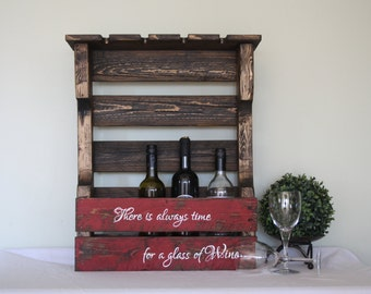 Pallet Wine Rack - Wood Wine Rack - Pallet Wine Holder - Wine Rack Wall - Wine Rack wall mounted - Wine Rack Shelf - Wine Home Decor