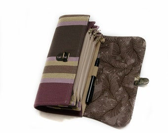 Large Envelope System Wallet Clutch and Coupon Organizer in purple stripes sturdy budget system zipper pouch phone holder -  READY TO SHIP