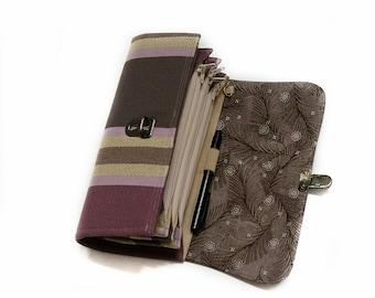 Grande pochette enveloppe système portefeuille et organisateur de Coupon à rayures violettes budget robuste système fermeture éclair pochette porte-téléphone - READY TO SHIP