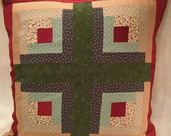 Log Cabin Quilt Pillow Case