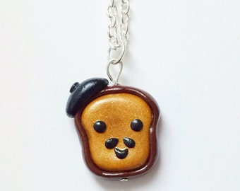 Mustache French Toast Polymer Clay Necklace, Kawaii Charm Necklace, Kawaii Jewelry