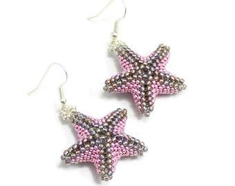 Starfish Earrings - Beach Jewelry - Pink and Black Dangle Earrings - Summer Jewelry - Marine Life Earrings - Seed Bead Earrings