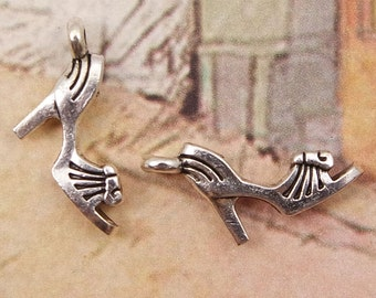 Shoe Charm, 8 High Heel Shoe Charms Antique Silver 3D 18 x 9 mm U.S Seller - ts962