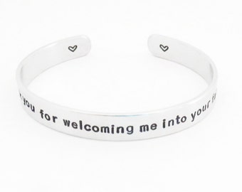 Mother-in-law wedding gift - Thank you for welcoming me into your family cuff bracelet - Wedding gift for mother in law