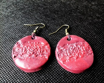 Handmade organic embossed hot pink round clay earrings on bronze earring hooks - a unique gift!
