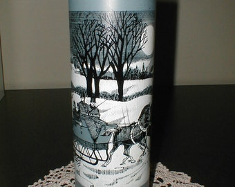 vintage glass cylinder CANDLE WINTER SLEIGH Scene NeverUsed Unlit vigil votive Horses Homestead Farm holiday Christmas Decor Xmas blue black