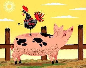 iOTA iLLUSTRATION - The Pig and The Rooster - Animal Art - Children's Art - Children's decor - Nursery Decor -  Limited Edition Print