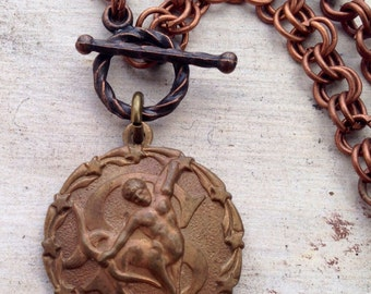 Super SALE Zodiac Vintage Charm Copper Necklace Sagittarius