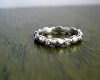 READY TO SHIP Sale-Victorian Water Ring Palladium and Diamond eternity band Size 4.75-5