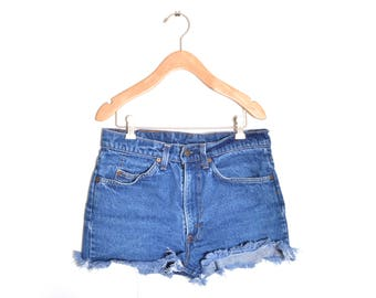 "70s Levis High Waisted Orange Tab Medium Wash Denim Blue Jean Shorts 31"" Waist"