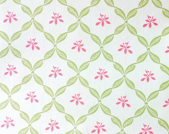 Light Green Harlequin Lattice with Pink Flower on White - Victorian, Shabby Cottage, Country, Home Decor - Wallpaper By The Yard - LY4459