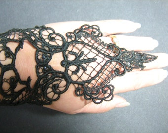 Handmade Embroidered Black Lace Cuffs with Diamantes  Goth/Steampunk/Burlesque