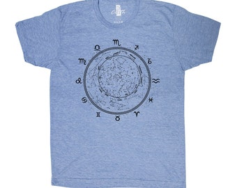 Zodiac T-shirt Men Graphic Tee Custom Hand Screen Tri-Blend Short Sleeve
