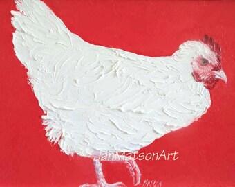 Hen painting, FRAMED chicken art, kitchen art, oil painting, animal art, country kitchen art, Etsy art, Jan Matson