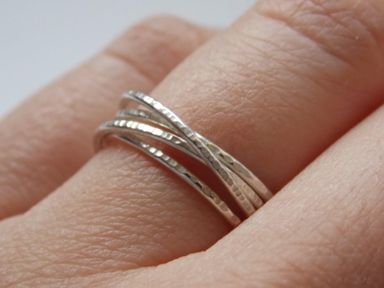 anneaux fins en argent martel s bague avec 4 anneaux. Black Bedroom Furniture Sets. Home Design Ideas
