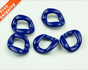 Free Shipping - 50PCS Blue Chunky Acrylic Chain Link, Chunky Plastic Chain, Bracelet Chain, Necklace Chain, 27x27mm, L0K3.BL55.P50
