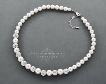 Wedding Pearl Necklace, Wedding Pearl Necklace, Wedding Jewelry, Bridal Pearl Necklace, Swarovski, Bridesmaids Gift, Grey Pearls Selene N07