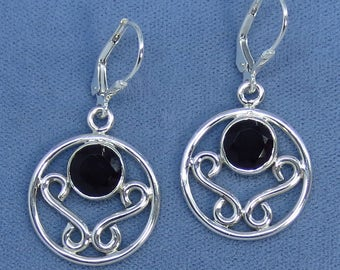 Natural Black Onyx Sterling Silver Leverback Filigree Earrings - 171142 - Free Shipping