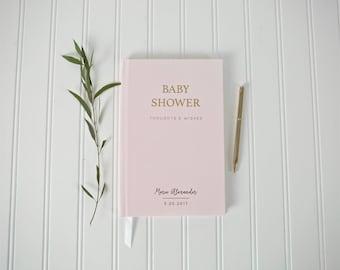 Baby Shower Book. Custom Baby Shower Gift. Baby Shower wishes. Baby Journal. Gold Foil Custom Baby Journal Book