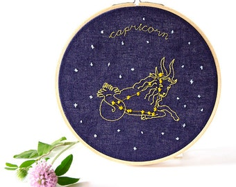 Capricorn (December 22 - January 19) zodiac embroidery