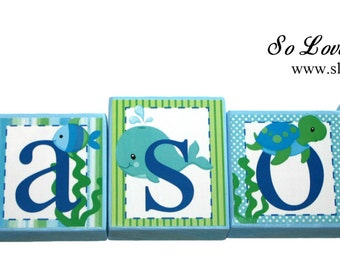 Mason Sea Collection - Light Blue, Green,and Navy Name Blocks - Sea Animals - Nautical- Whale, crab, fish, octopus- Baby Shower- Sea name-