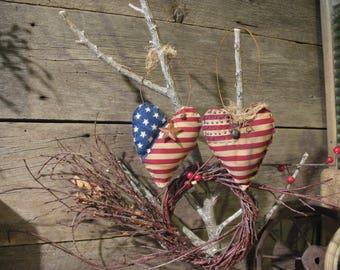 Two Primitive Americana Heart Ornaments, Door Hangers, American Flag Hearts