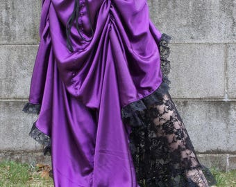 Purple Steampunk High Low Skirt Long Short - Ready to Ship | Fishtail skirt, Flamenco skirt, Pinup skirt, satin high low skirt