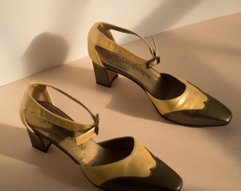 RARE Yves Saint Laurent Low Heel Oxford Style Two Toned Jazz Shoes