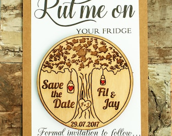 Wood Save-the-date Magnets (30 pcs), Rustic Wedding Tree Save the Date, Save the date, Wood Wedding Save the date, Wedding Save the date