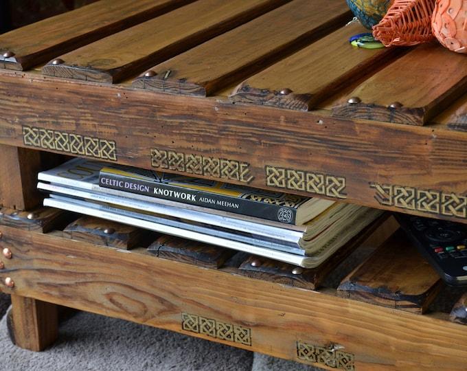 FREE UK SHIPPING Bespoke Celtic Reclaimed Wood Coffee Table Medium Oak Stain with King Solomon's Knot Celtic Design & Under Shelf Storage