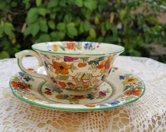 Vintage Ceramic Floral Tea Cup and Saucer