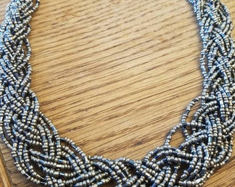 Braided Silver Black Iridescent beaded necklace